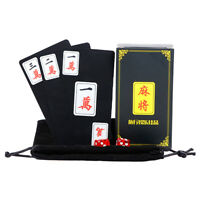 Chinese Traditional Mahjong Play Card Matte Waterproof Travel Game Set Black
