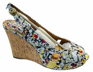 Steve Madden Crazzy Floral Mul Peep Toe Wedge Sandal Heels in Box NWT - 9.5