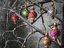 Multi Coloured Vintage Style Glass Decorations, Xmas Ornaments, Christmas, Boxed