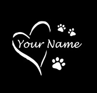 Custom Heart and Paw Print Dog Cat Pet Car Decal Sticker Personalized Window
