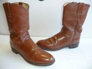 Vintage Justin Men's Roper Cowboy Western Brown Boots, Size 8 B USA Made.