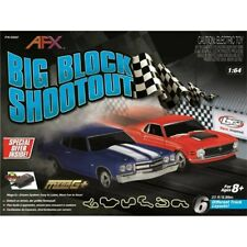 AFX Big Block Shootout 23-Foot HO Slot Car Track w/Chevy Chevelle & Ford Mustang