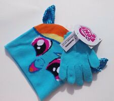 My Little Pony Rainbow Dash Turquoise Winter Hat with Sequin Ears and Gloves