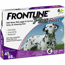 FRONTLINE Plus Flea and Tick Treatment for Large Dogs (45-88 lbs), 6 Doses