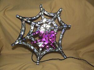 "18"" Spider Web Holographic Lighted Sculpture Halloween Window Decor 100 Lights!"