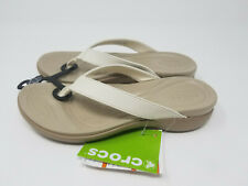 Crocs Capri V Oyster/Tumbleweed 8 Women's Flip Flop Sandal