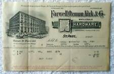 1897 ILLUSTRATED BILLHEAD FARWELL OZMUN KIRK ST PAUL ISDELL PONY MT #189