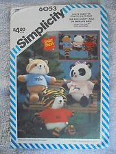 Craft Sewing Pattern Simplicity Hallmark 6053 Vtg Shirt Tales Plush Animal Uncut