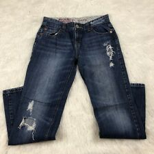 mossimo juniors jeans size 7 boyfriend style distressed holes straight leg