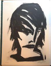Michael Hengst (1953) Frauenkopf, Lithografie 1987, DDR, signiert