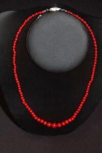 Kette rote Koralle, Kettenlänge 47cm, Schloß Gold 585 sehr guter Zustand
