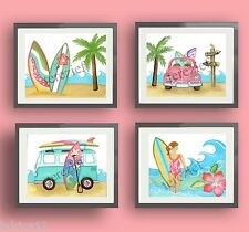 Surfboard Hawaii Surf Up Girl children nursery wall art decor prints