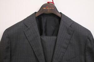Current $10,000 Kiton Cashmere-Silk Charcoal Flat Front Men's Suit US 42R