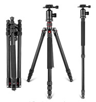66 inch Portable Carbon Fiber Camera Tripod Monopod With 360 Ball Head