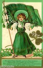 St Patrick's Day Fabric Block Vintage Postcard on Fabric Erin Go Bragh Flag