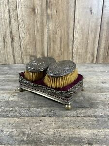 Pair Of Antique Silver Dressing Table Hair Brushes With Velvet Cushion Stand.