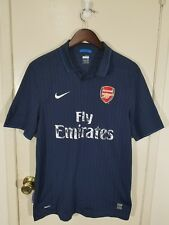 Nike Dri Fit Arsenal Gunners Fly Emirates Soccer Polo Shirt Size Large Blue