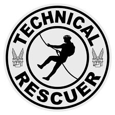 Technical Rescuer Firefighter Rescue Small Round Reflective Decal Sticker Black