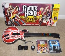 PS3 Guitar Hero Aerosmith Guitar Bundle (w/Dongle) in Storage Box + 2 Game Discs