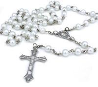 Women White Long Rosary Beads Cross Necklace Silver Chain For Women Men Girl