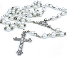 Women White Long Rosary Beads Cross Necklace Silver Chain For Women Men Girl