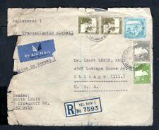 Palestine - 1940 Registered Transatlantic Airmail Cover Tev Aviv to Chicago, USA