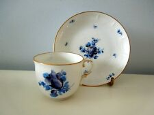 Nymphenburg Dainty Cup Saucer Blue Flowers Basket Weave Rims Hand Painted Scarce