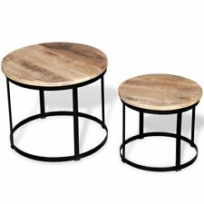 2 Wooden Coffee Tables Rough Mango Wood Round Handmade Industrial Iron Frame