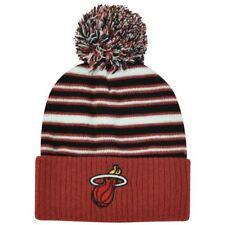 NBA Adidas Miami Heat Striped Pom Pom Cuffed Kids Boys 4-7 Knit Beanie Toque Hat