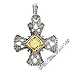 Judith Ripka Silver 18K Gold Canary Crystal Large Cross Enhancer Pendant & Chain