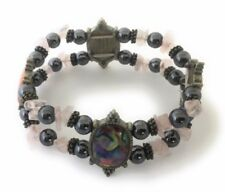 Magnetic Bracelet Hematite Bead Pink Stone Abalone Shell Stretch Healing Therapy