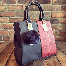 Womens Navy Blue & Red Moda Tote Handbag Faux Leather & Free River Island Gift