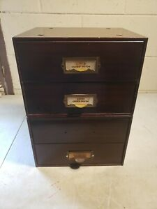 4 Drawer Watchmakers Cabinet ~ 2 Stack Units ~ Full Of Crystals & Mainsprings