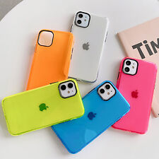 Clear Fluor Color Airbag Soft Case Cover For iPhone SE2 11 Pro Max XS XR 8 7 TPU