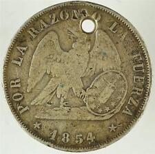 1854 Por La Razon O La Fuerza Republica de Chile Peso .900 Silver ZP171