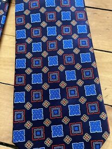 NWT Ermenegildo Zegna 100% Silk Tie - Navy Blue Geometric - Made In Italy