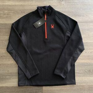 NWT Spyder Men's Outbound Half-Zip Black Sweatshirt Size Large