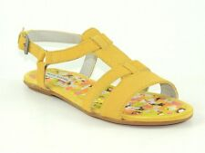 Hush Puppies Women's Sagitar T-Strap Sandals Yellow Suede Size 6 (B, M)