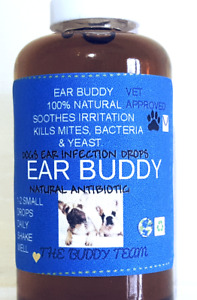 Ear infection drops for Dogs, cats & rabbits, strong natural antibiotic