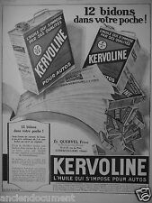 PUBLICITÉ 1927 KERVOLINE L'HUILE QUI S'IMPOSE POUR AUTO - ETS QUERVEL - PUYBELLE