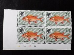 ASCENSION SG 129w MNH Plate Block 1A 1970 Fishes 3rd Series CROWN RIGHT OF CA