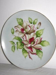 Deep Pink & White Flowers Green Leaves Hand Painted Gold Rim Wall Display Plate