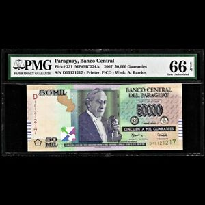 Paraguay 50,000 Guaranies 2007 PMG Gem Uncirculated 66 EPQ