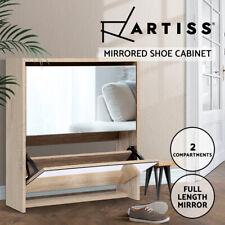 Artiss Shoe Cabinet Mirror Shoes Storage Rack Organiser Wooden Cupboard Shelf