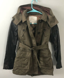 EUC Girls Size 10 Burberry Leather Accent Belted Jacket Trench Coat Olive Black