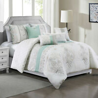 7 Piece Luxury Embroidery Microfiber Comforter Set Bed In A Bag,Queen Size,Fahey