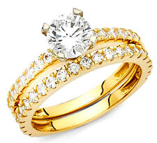 1 carat 14k real Yellow Gold  Round cut  Engagement Wedding  Ring S 7