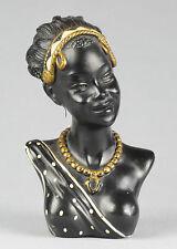 VINTAGE RETRO BUSTE FEMME AFRICAINE SEIN NU DIADEME COLLIER AFRICANISME ART DECO