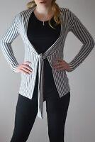 Ladies cardigan top tie stretch UK 8 - 16 shrug thin knit casual work black new