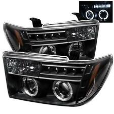 Projector Head Lights Lamps Toyota Tundra 07-12 Sequoia 08-12 HALO LED - Black